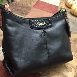 Coach black leather mini handbag